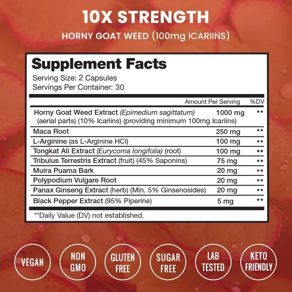 Premium Horny Goat Weed Extract [10X Strength Icariins] with Maca, Tribulus & Ginseng - Energy & Performance Complex for Men & Women - 1000mg Epimedium Powder Pills Supplement, Vegan Capsules: Health & Personal Care