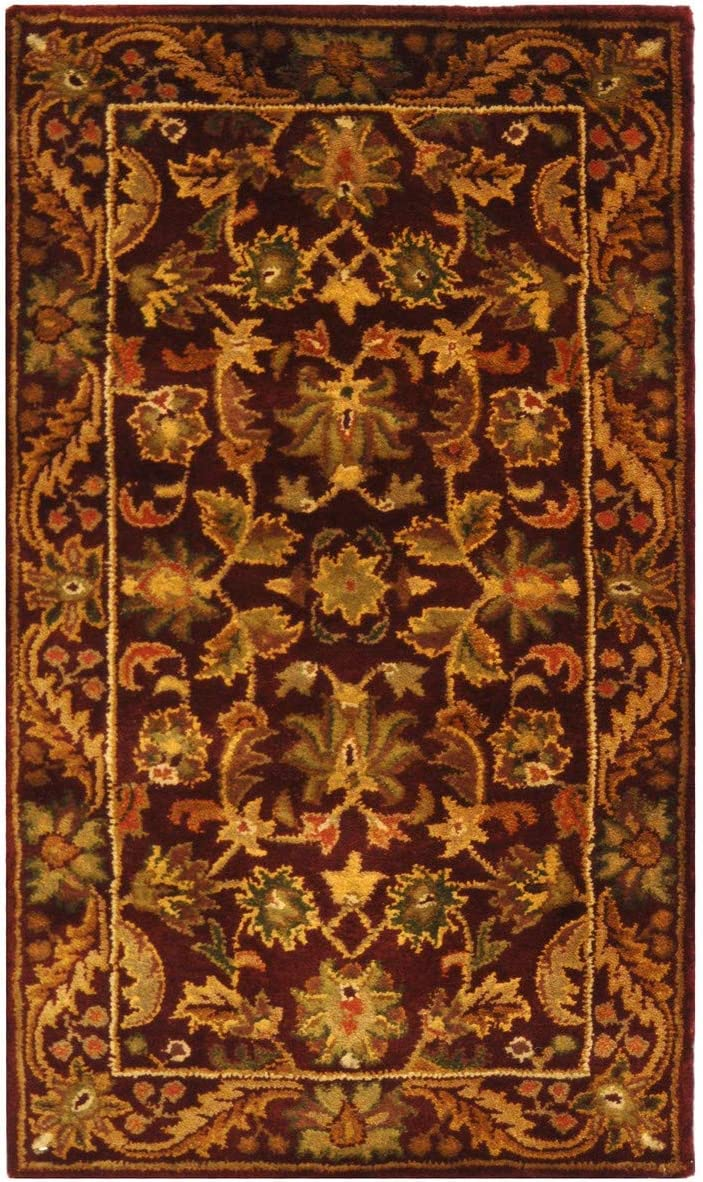 "Safavieh Antiquities Collection AT52B Handmade Traditional Oriental Wine and Gold Wool Area Rug (2'3"" x 4')"