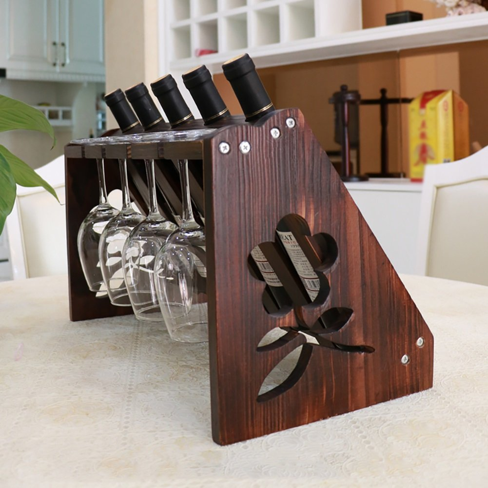 Amazon.com: YXX- Wood Wine Racks For Countertop 5 Bottles 5 Glass Home Wooden Wine Bottle Holder Under Cabinet (Color : Brown): Kitchen & Dining