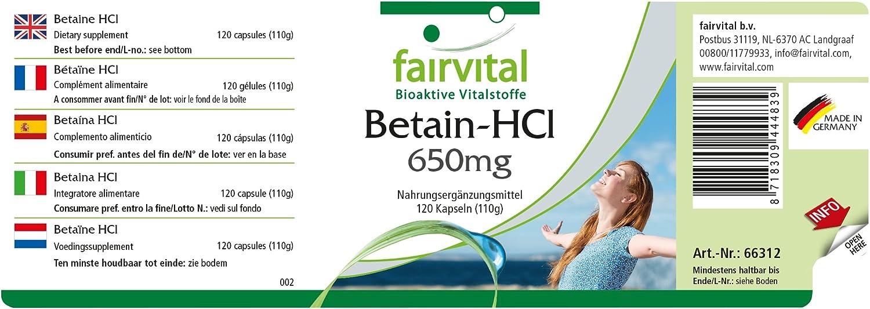 Betaína HCL 650 mg - 1 mes - dosis alta - VEGAN - 120 cápsulas - clorhidrato de betaína: Amazon.es: Salud y cuidado personal
