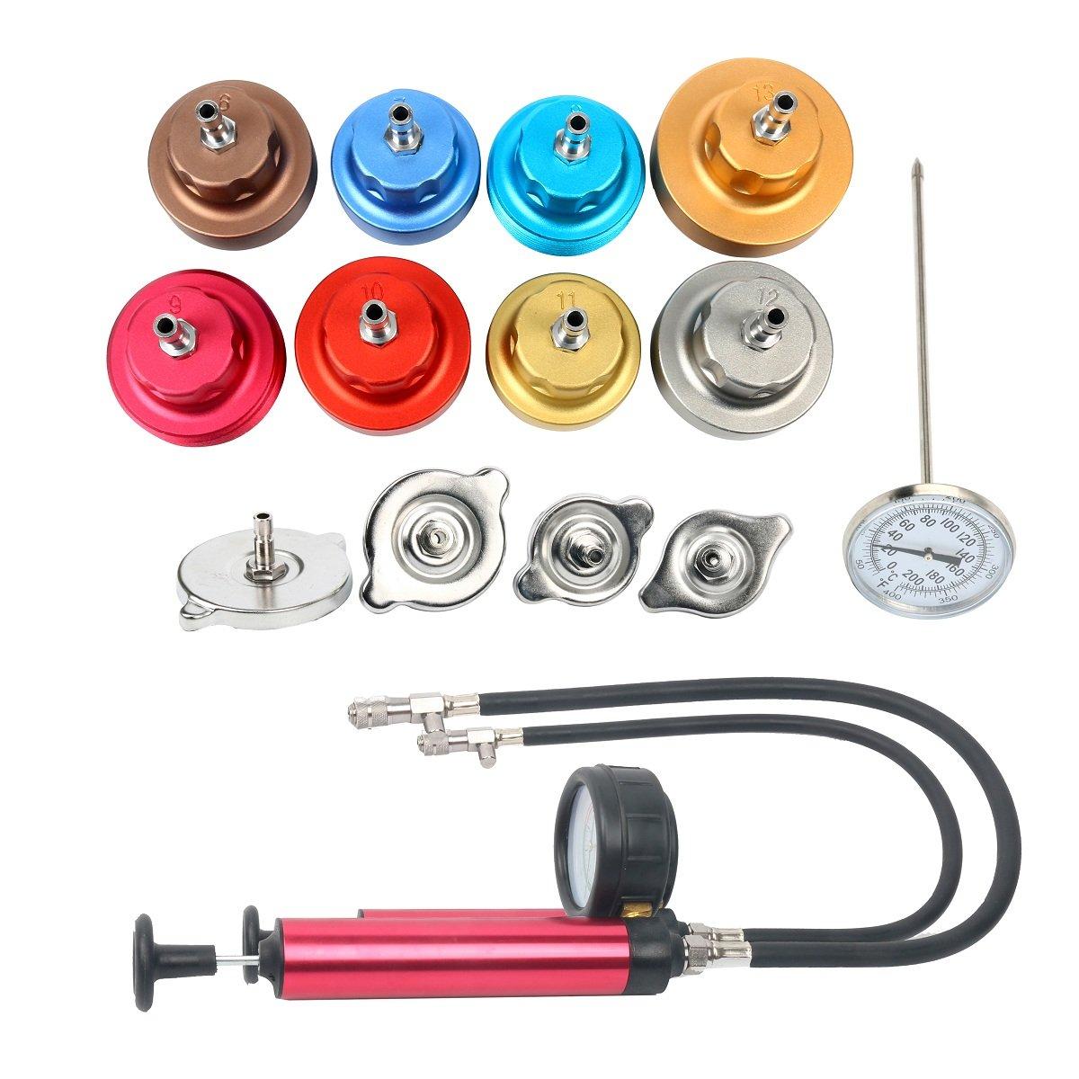 8MILELAKE 14 PCs Pressure Cooling System car Leak Tester Kit Detector Tool Auto Coolant Vacuum Purge Head Gasket Water Tank Adapter Universal Automotive by 8MILELAKE (Image #2)