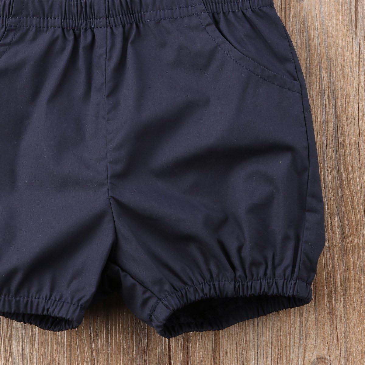 Baby Boy Summer Cotton Bowtie Gentleman Short Sleeve Bowtie Romper+Suspenders Shorts Outfit Set