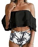 FOMANSH Women Two Piece Off Shoulder Ruffled Flounce Bikini Swimsuit Bathing Suit