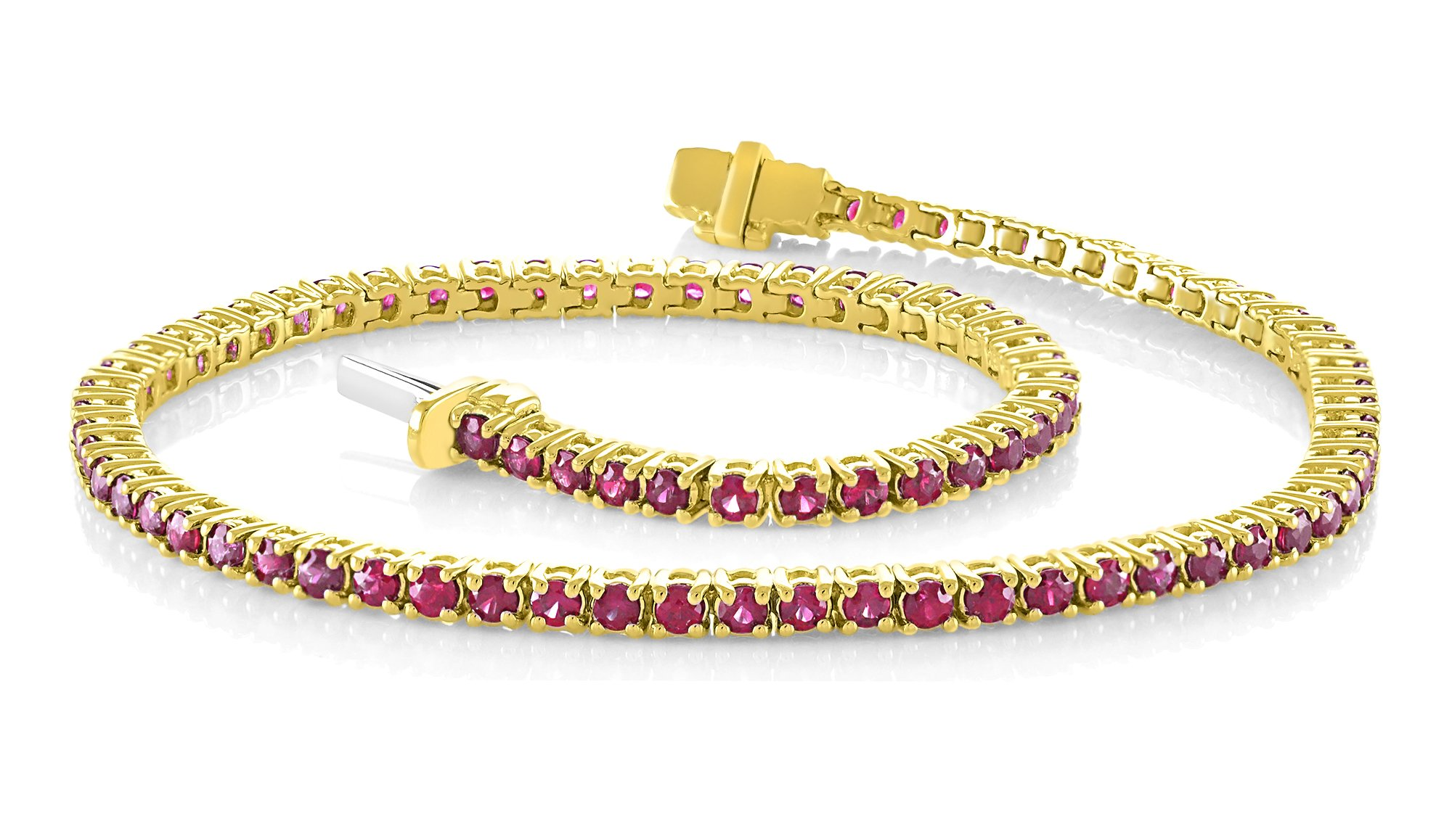 14K Yellow Gold 2.50 Carat (ctw) Natural Real Round Cut Red Ruby Tennis Bracelet For Women 7 Inches