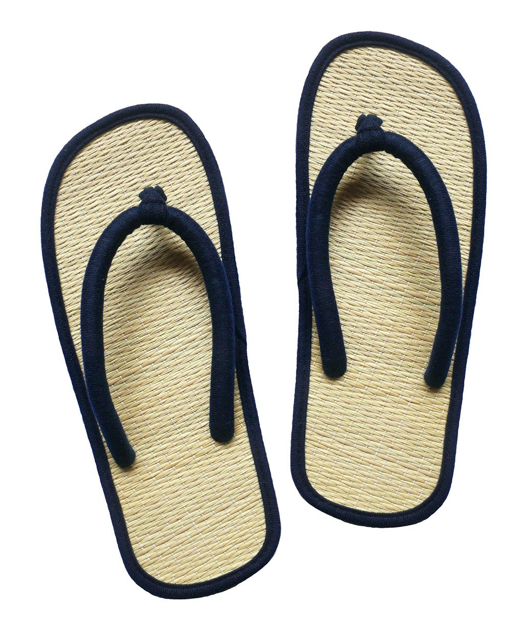 USA STEP Women's Big Girls' Handmade Fashion Indoor Outdoor Home Spa Hotel Solid Dark Blue Straw Seagrass Summer Flip Flops Sandals Slippers Thong