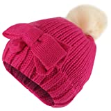 Trendy Apparel Shop Kid's Girl Bow Knit Beanie With