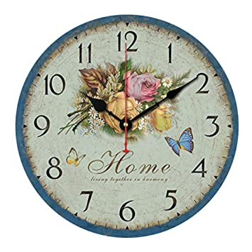 "Jinberry 14"" (34cm) Retro Vintage Reloj de Pared Silenciosos Antiguo de Madera /"
