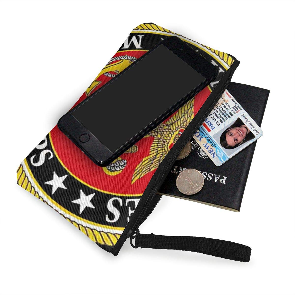 United States Marine Corps Womens Canvas Coin Purse Mini Change Wallet Pouch-Card Holder Phone Wallet Storage Bag,Pencil Pen Case