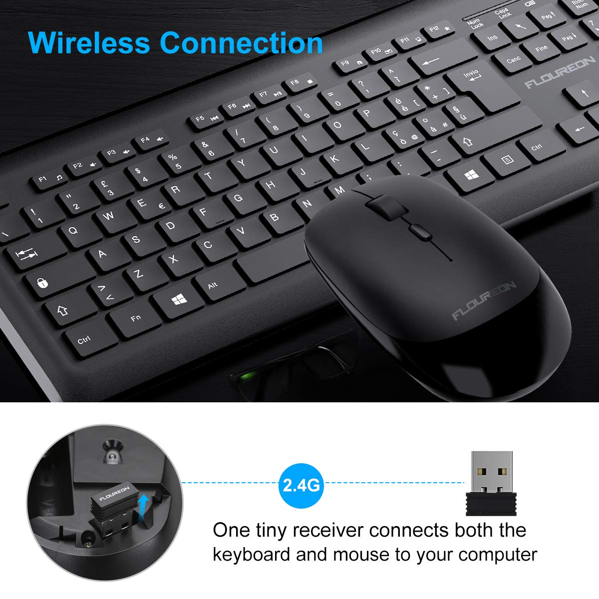 FLOUREON Tastiera Wireless Xbox Kit Tastiera Mouse Wireless con Layout ITLIANO Tastiera e Mouse Wireless Italiano Ufficio e Casa per PC Windows Design Ultra-Sottile PS4 Mac
