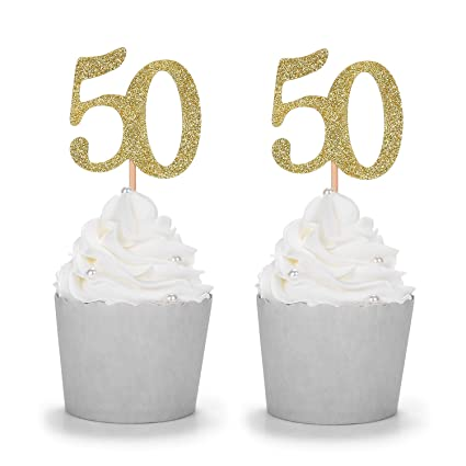 Gold Glitter Number 50 Cupcake Toppers Handcrafted 50th Birthday Celebrating Decors