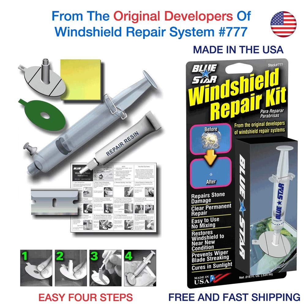 Blue-Star Fix Your Windshield Do It Yourself Windshield Repair Kits, Glass Repair KIT Stone Damage CHIP Model # 777 Prevent Stone Damage from Spreading Made in USA Blue start