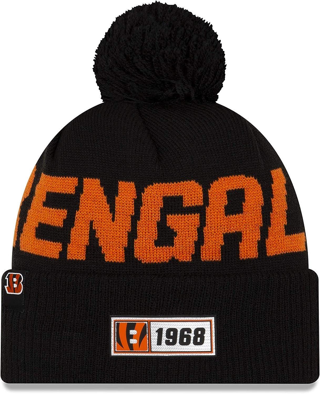 New Era Mens Cincinnati Bengals Black NFL Sideline Road Official Sport Knit Hat