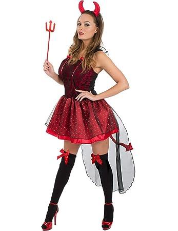 erwachsene damen sexy rot teufel halloween kostum verkleidung small