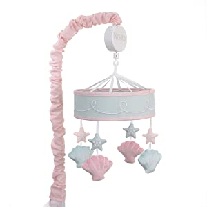NoJo Sugar Reef Mermaid Nursery Crib Musical Mobile with Sea Shells & Stars, Aqua, Pink