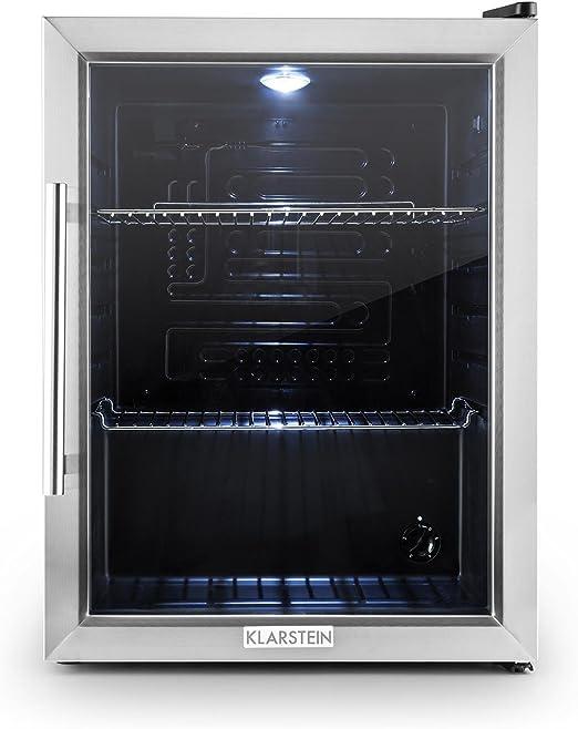 Kühlschrank Minibar Getränkekühlschrank Silber A+ Edelstahl Glasstür 80L