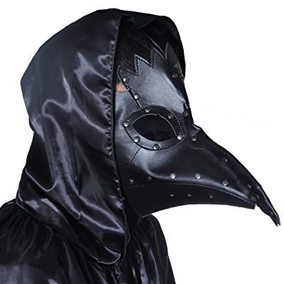 Plague Doctor Mask Birds Long Nose Beak Faux Leather Steampunk Halloween Costume Props Black: Clothing