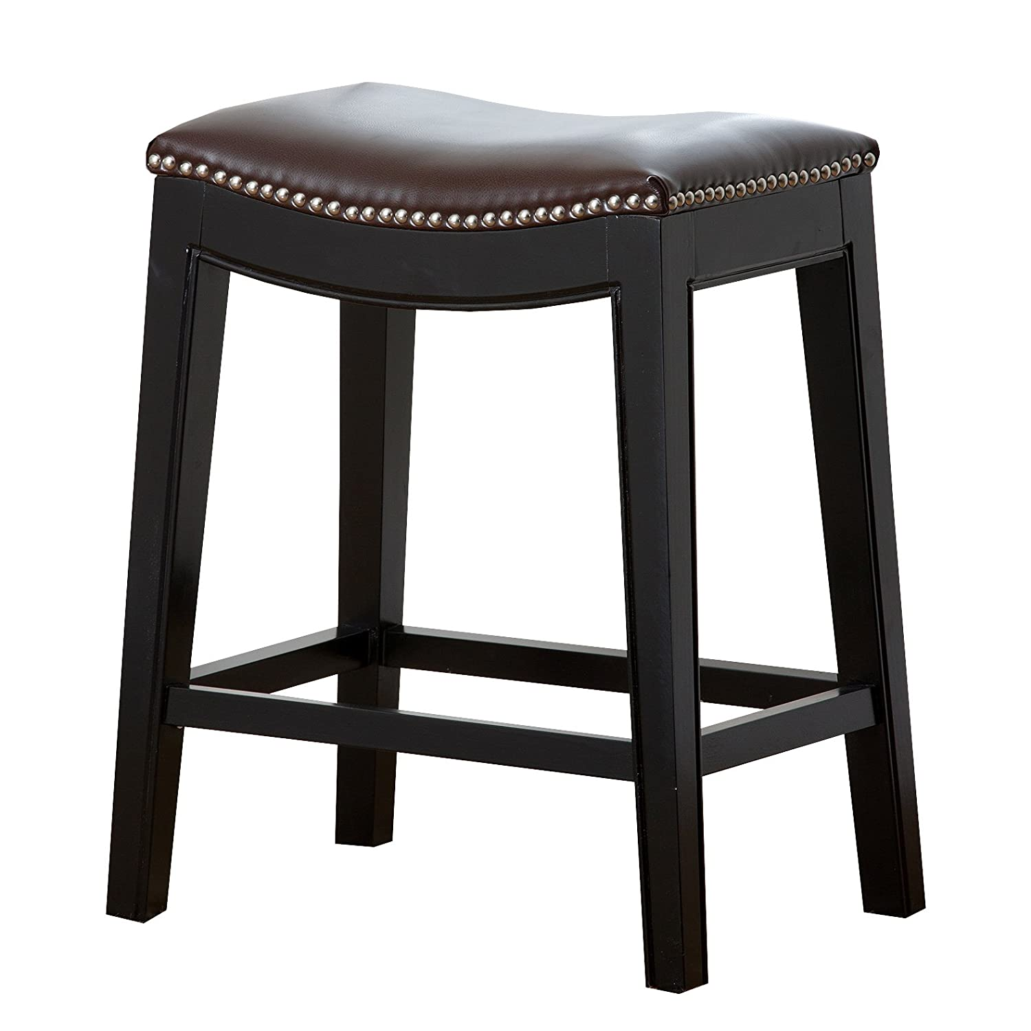 Black Leather Counter Stools Part - 25: Amazon.com: Abbyson Paula Leather Nailhead Trim Counter Stool, Dark Brown:  Home U0026 Kitchen
