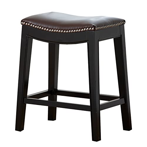 Abbyson Paula Leather Nailhead Trim Counter Stool, Dark Brown