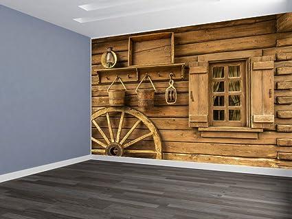 . Amazon com  Wagon Wheel Scene REMOVABLE WALLPAPER  WALL DECOR