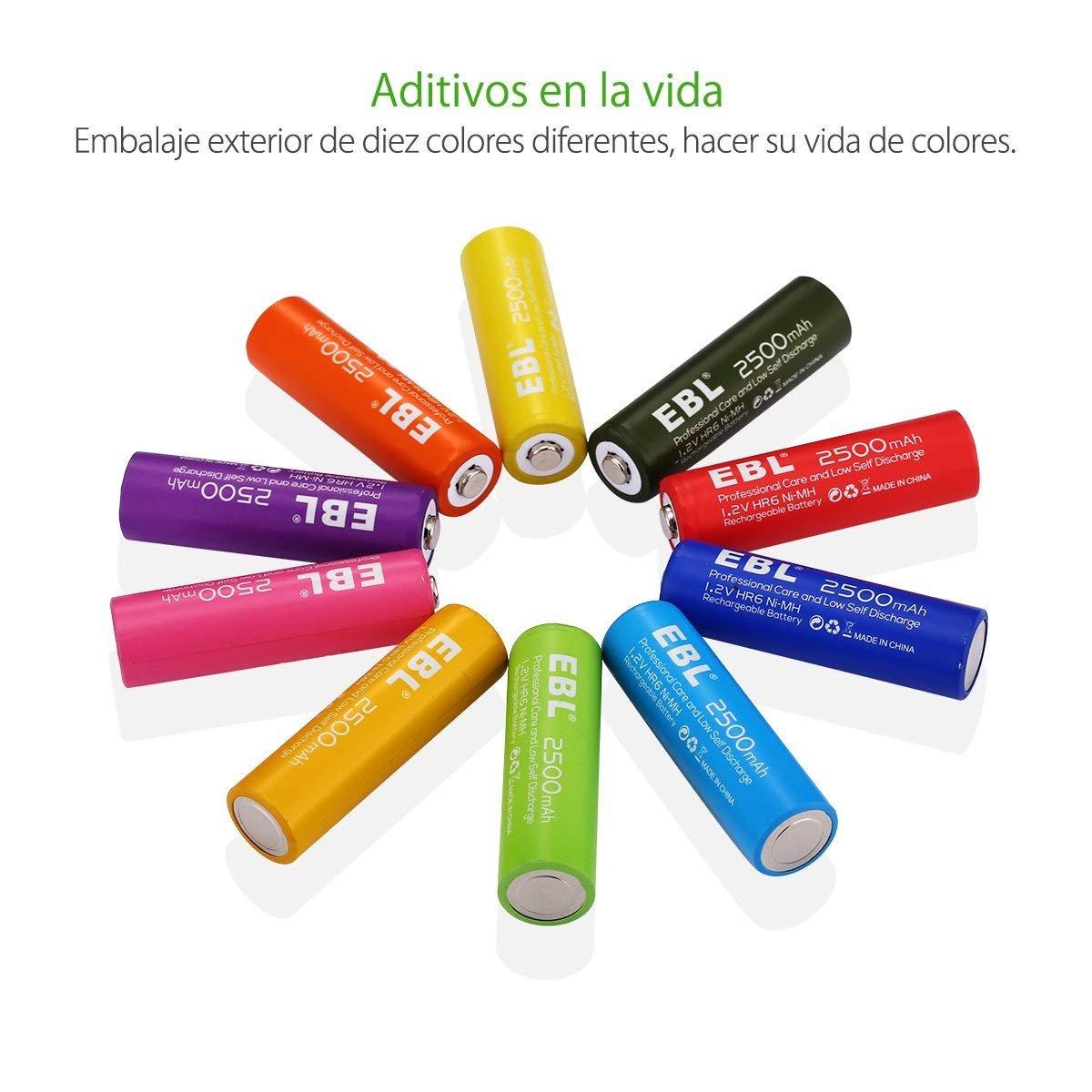 EBL 2500mAh AA Ni-MH Arco iris de la Batería Recargable para los Equipos Domésticos (Paquete de 10 Unidades)