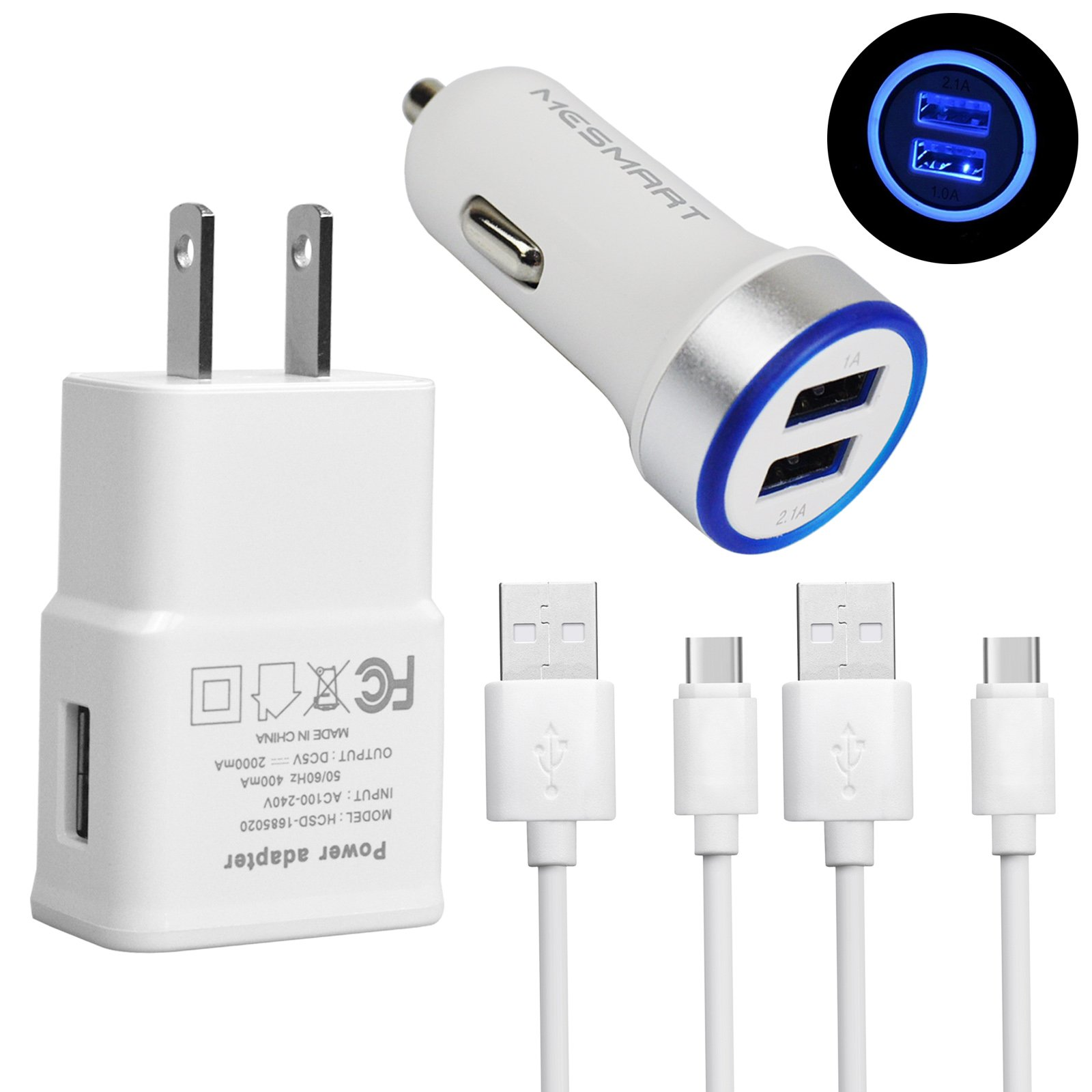 MESMART 1x LED Dual 3.1A Car Plug+1x 2A AC Home Wall Power Adapter Charger+2x USB Type C Cable Cords for LG Stylo 4 G7 ThinQ G6 G5 SE V30s V30 Google Pixel 2 XL Samsung Galaxy S9 S8 Active Note 8 Plus