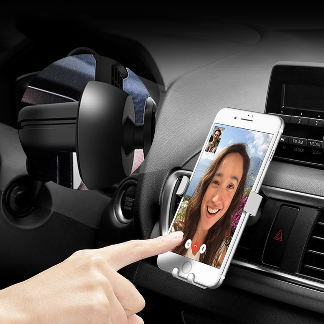 Car Phone Mount, Gravity Air Vent Car Mount Universal Rotate Cellphone Holder Mount Bracket Auto Lock Design, Easy Operation Cradle Smart No-Touch Design, for iPhone X/8/7 Plus/6s/Samsung Galaxy S8 …