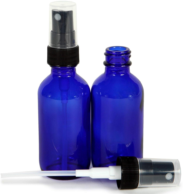 Vivaplex, Cobalt Blue, 1 oz Glass Bottles, with Black Fine Mist Sprayers - 2 pack