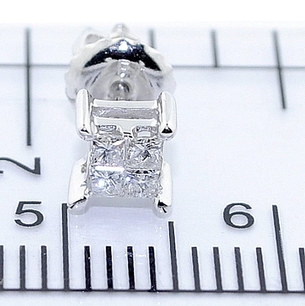 Princess Cut Diamond Earrings Studs Screw Back 10K Yellow Or White Gold