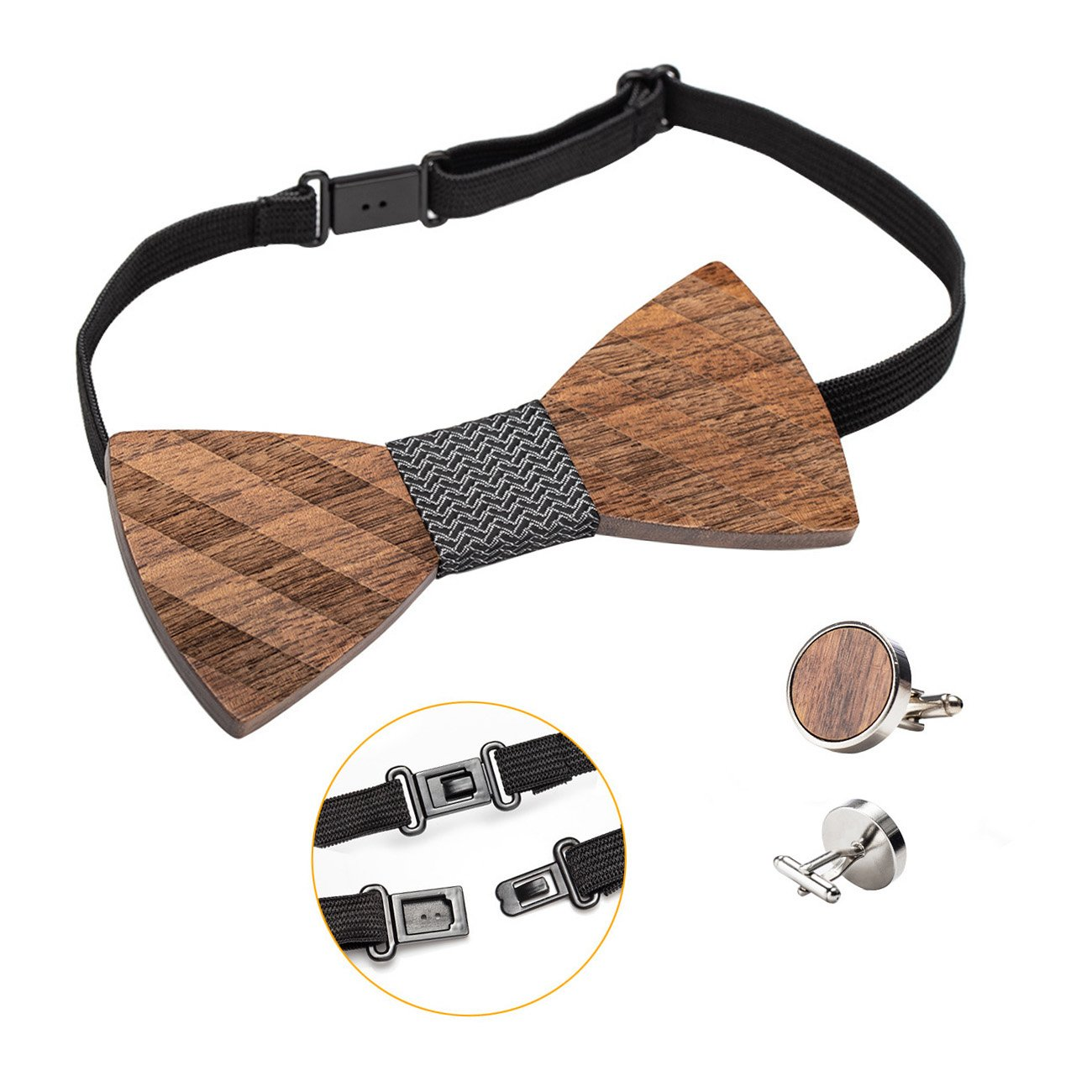 Amzchoice Classic Handmade Mens Wood Bow Tie with Matching Pocket Square Mens Cufflinks Lapel Flower Set