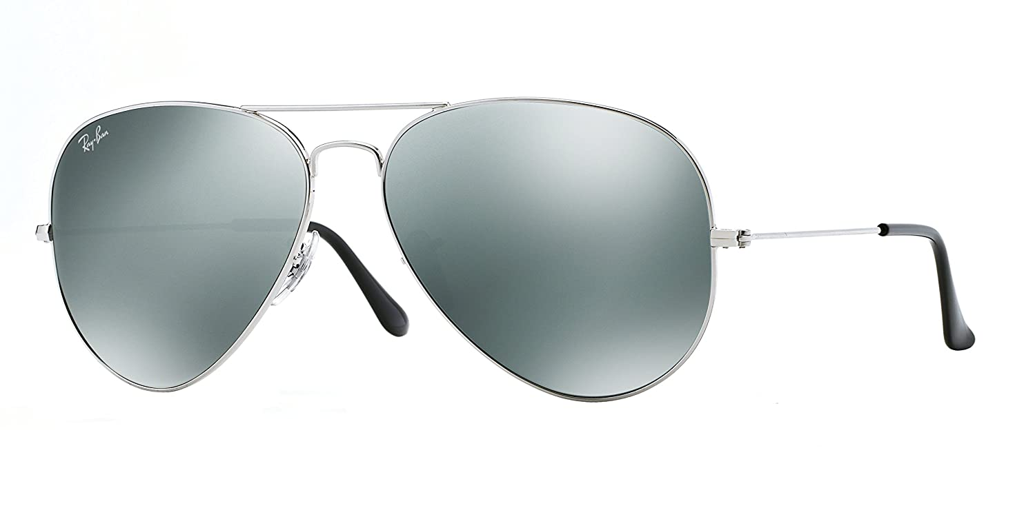 c2dcefe1a2 Amazon.com  Ray Ban 3025 Aviator RB 3025 003 40 62mm Silver Frame Full  Silver Mirror Large  Clothing