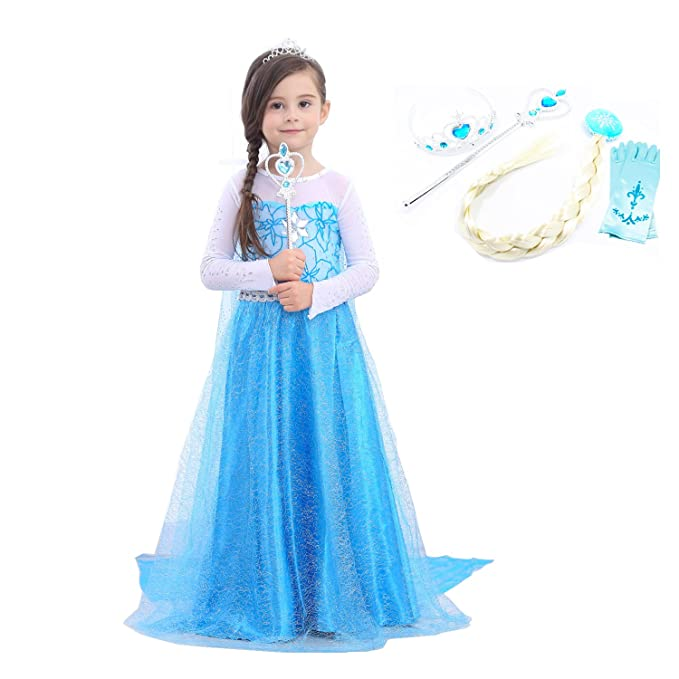 Amazon.com: Niñas Elsa Sparkle vestido de princesa Puff ...