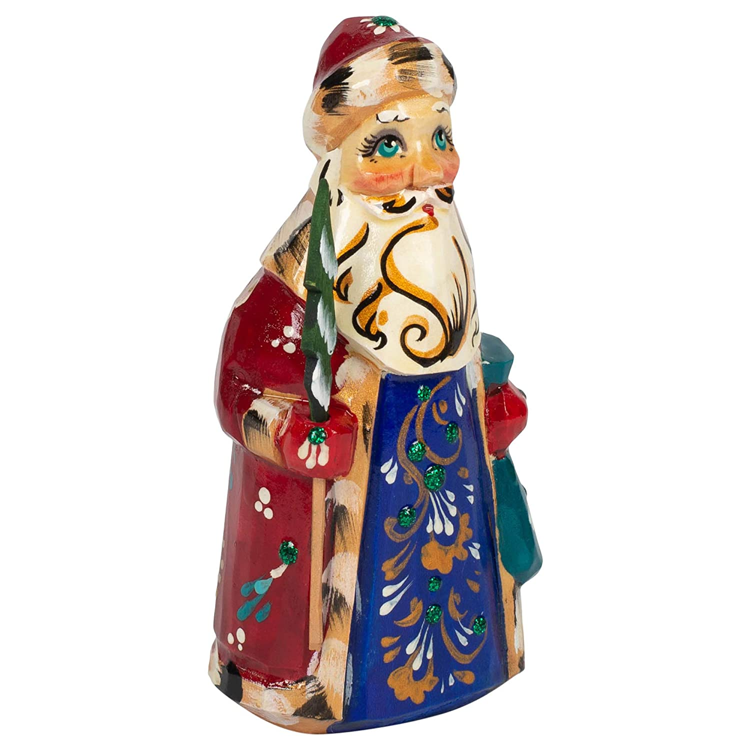 St Petersburg Collection Traditional Santa Claus Handpainted 2 x 4 Inch Wood Tabletop Christmas Figurine