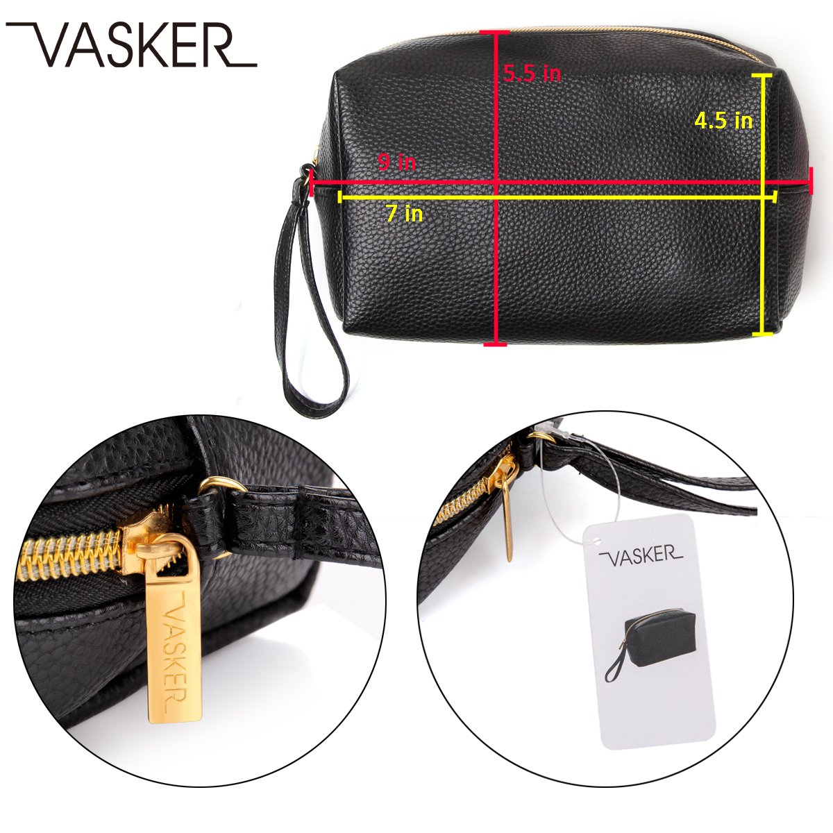 VASKER PU Leather Makeup Bag Handy Cosmetic Pouch Travel Portable Handbag Purse Toiletry Storage Bag Large Organizer with Zipper Women by VASKER (Image #4)