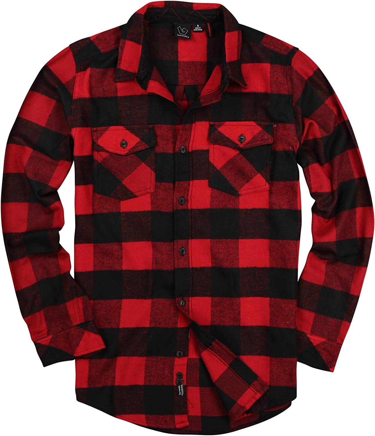 Men's Button Down Long Sleeve Flannel Shirt: Clothing