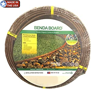 "One Stop Outdoor USA Made - Heavy Duty Landscape Edging, Garden Planter & Pathway Bender Board Edge Border Kit - Thick Pro-Grade Style Terrace Board 3.3"" H x 16'ft L - Includes 4 Stakes Color: Brown"