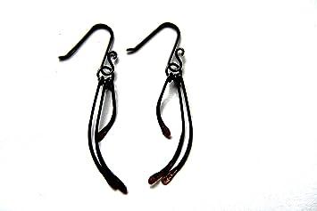 Ohrringe. Strukturierte 3 Paddel schwarz Draht Ohrringe mit Kupfer ...