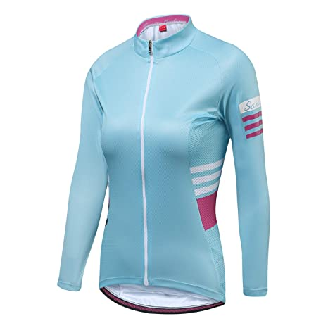 Santic Cycling Jersey Women s Long Sleeve Tops Bike Shirts Bicycle Jacket  with Pockets Blue ffdde5e0f