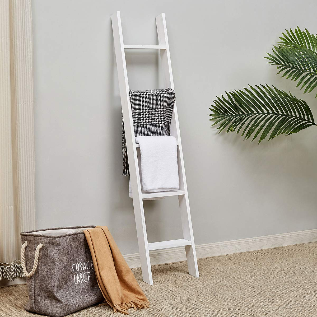 RHF Rustic Farmhouse Blanket Ladders,Wall Leaning Decorative Blanket Ladder,Rustic Wood 5ft Blanket Ladders, Blanket Quilt Rack Stand for Living Room, Ladder Decor,No Assembly Required 5-Feet, White by Rose Home Fashion