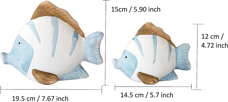 Khevga Maritime Deko Bad Badezimmer Deko Fische Terracotta Blau Weiss 2er Set