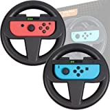 Orzly Nintendo Switch Steering Wheels [TWIN PACK] - Pack of 2 BLACK Steering Wheel Accessory Attachments [with Built-In Light Display Indicators] for use with Nintendo Switch Joy-Con Controllers