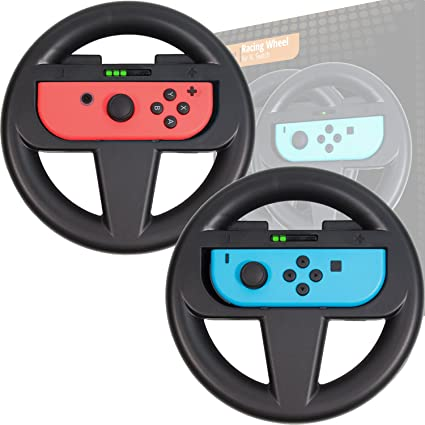 Orzly Steering Wheels [Twin Pack] Compatible with Switch Joy-Cons - Pack of  2 Black Steering Wheel Accessory Attachments [with Built-in Light Display
