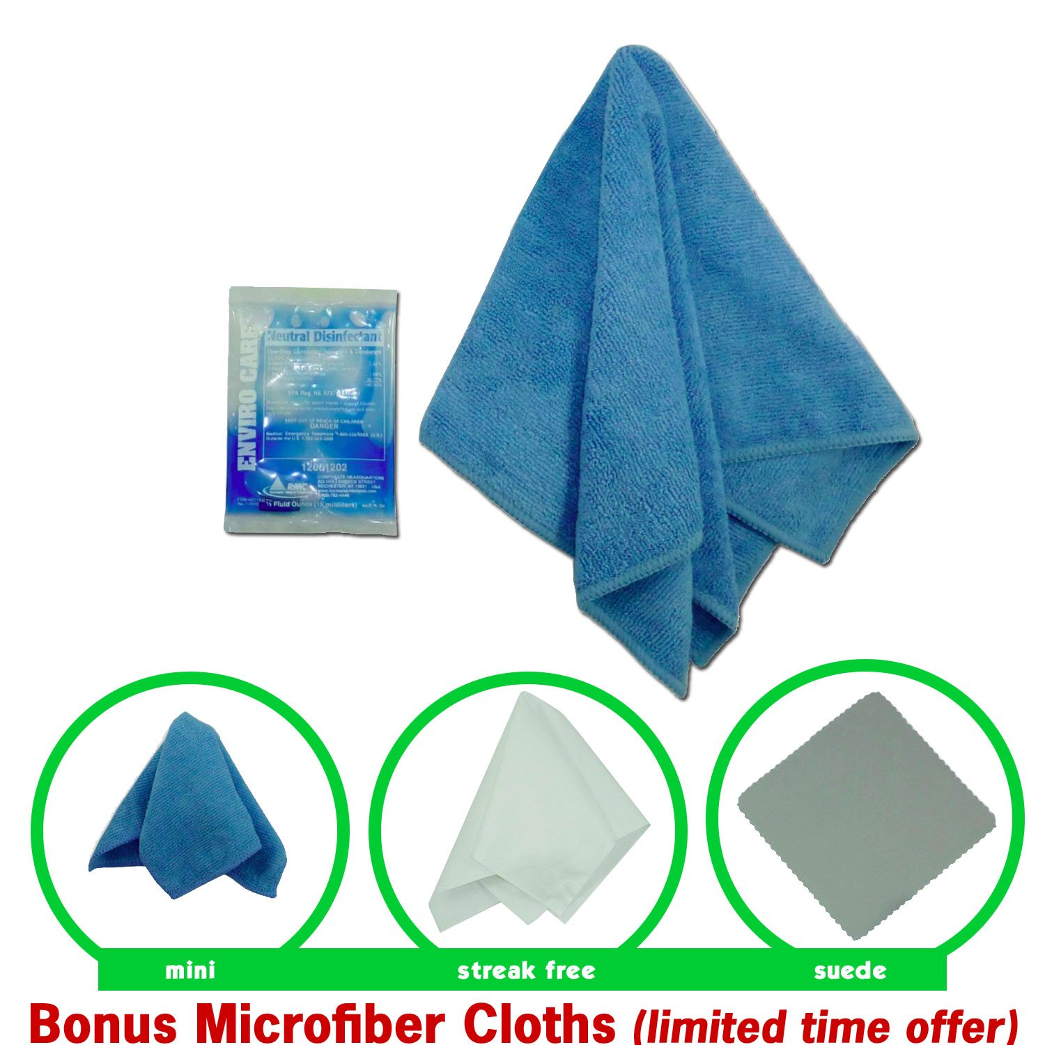 Reusable Disinfecting Wipes Kit: CleansGreen Microfiber Cloth, Hospital Disinfectant Cleaner|Best as Sanitizer Spray for Baby, Pets, Electronics, Phones, Travel, Kitchen, Bath-BONUS 3 Specialty Cloths