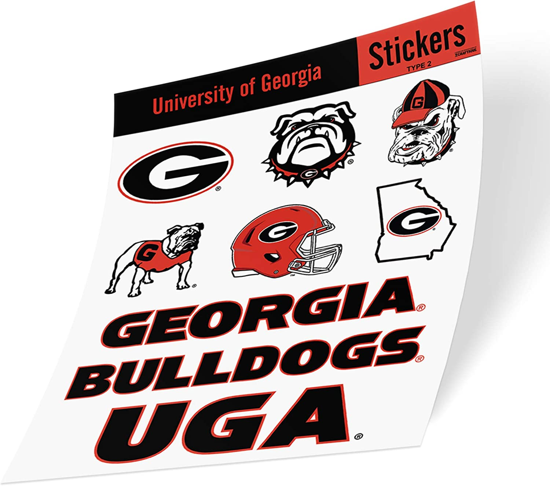 University of Georgia NCAA Sticker Vinyl Decal Laptop Water Bottle Car Scrapbook (Type 2 Sheet)