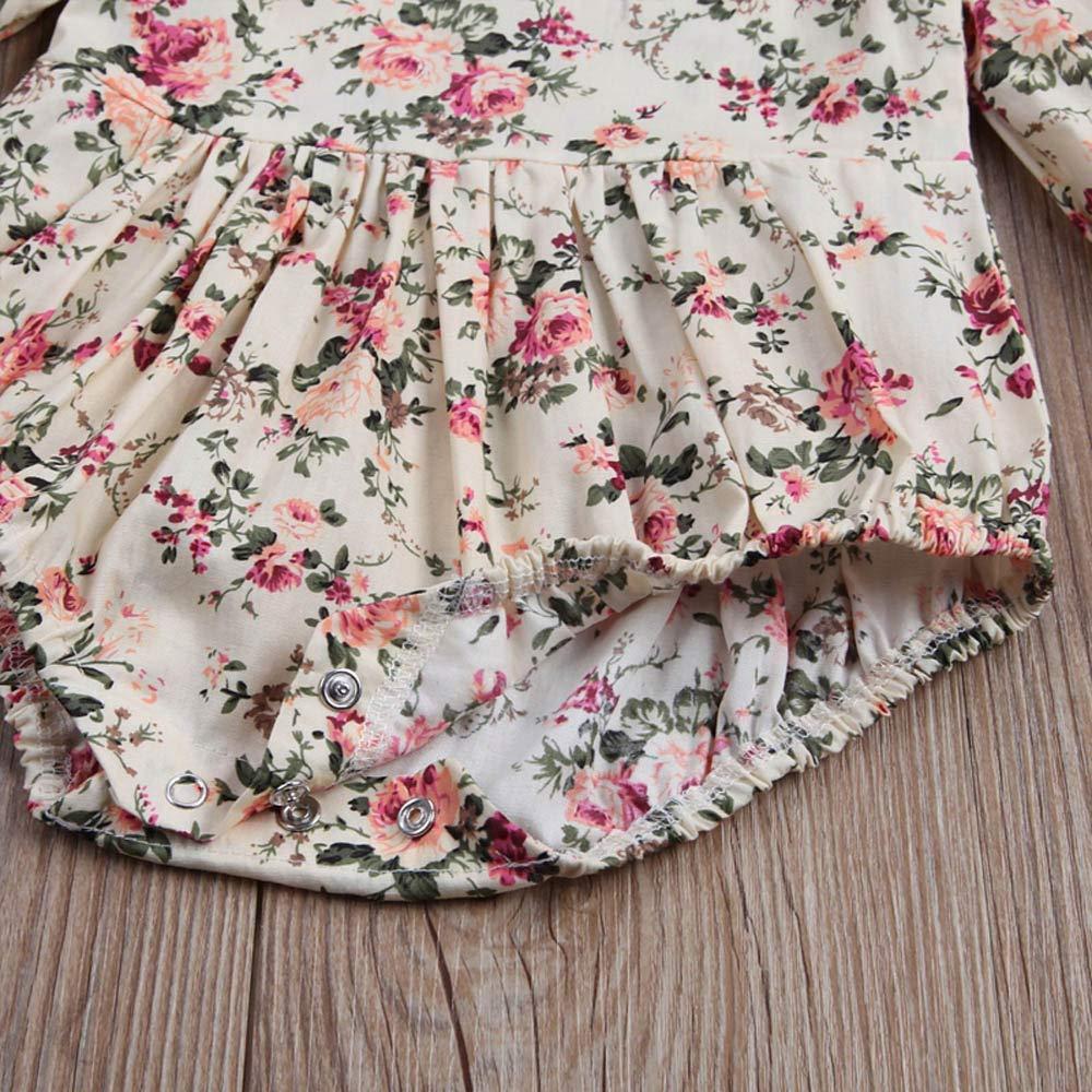 Jarsh Newborn Baby Girls Floral Print Ruffles Cotton Romper Bodysuit Outfits