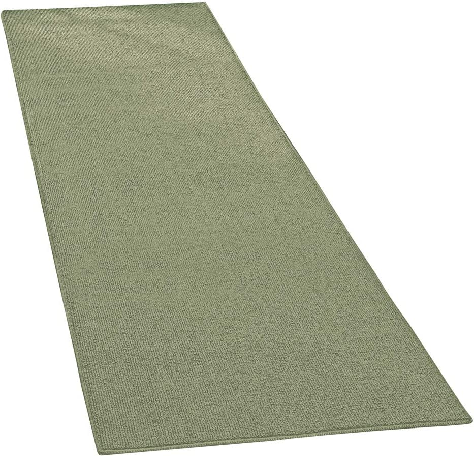 "Collections Etc Extra-Wide and Extra-Long Skid-Resistant Floor Runner Rug for High-Traffic Flooring Areas, Including Entryways, Hallways, Foyers and Kitchens, Sage, 28""X120"""