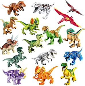 16pcs Dinosaur Building Blocks Figures with Movable Jaws,Buildable Mini Dinos Toy Playset DIY Stackable Dinosaur Party Favors, Educational Toy Gift for Kids