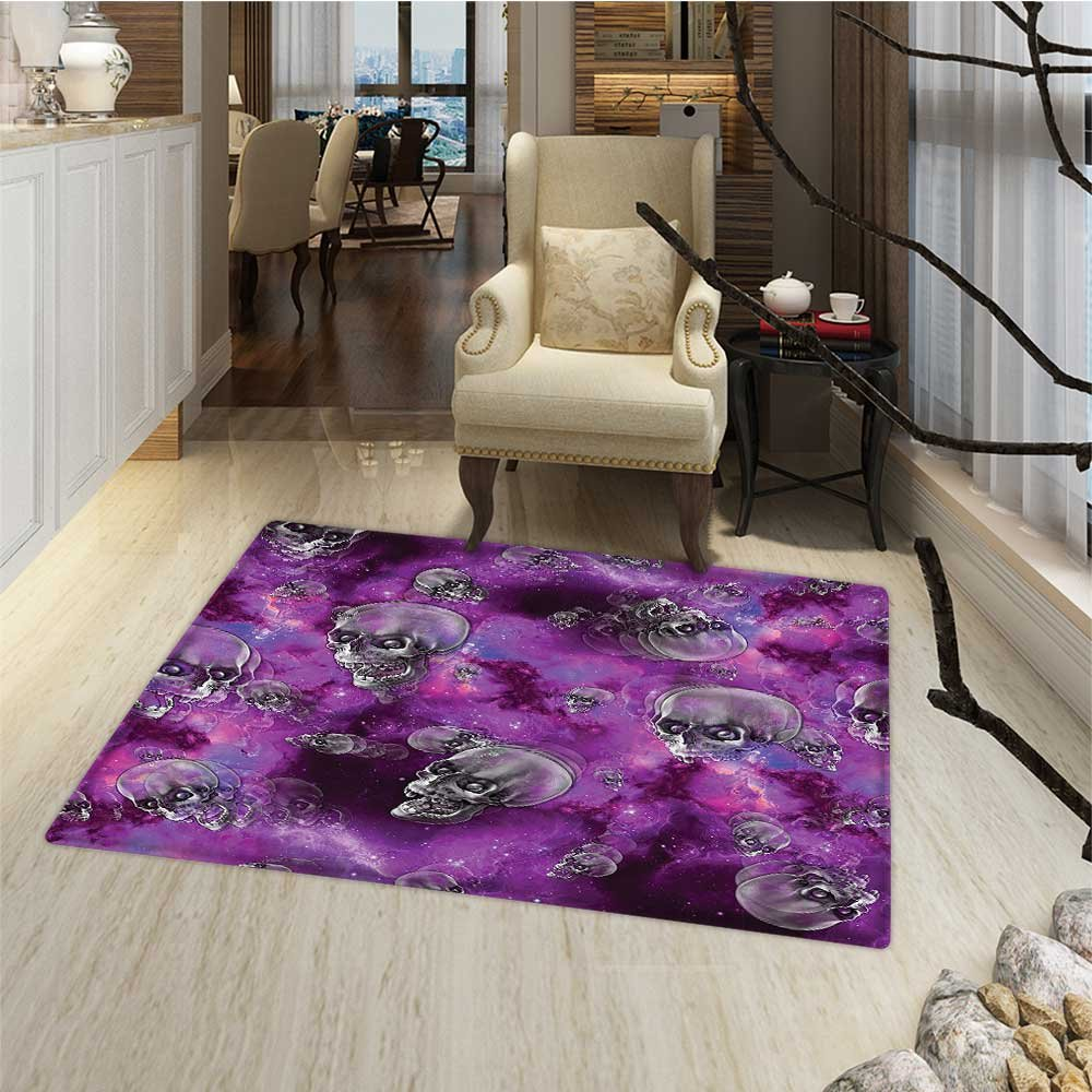 Skull Door Mats for home Horror Movie Thirller Themed Flying Skull Heads Halloween in Outer Space Image Bath Mat 3D Digital Printing Mat 16''x24'' Black and Purple