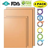 NETCAT - Copper Grill Mat Set of 4 - 100% Non-stick BBQ Grill Mats - FDA-Approved, PFOA Free, Reusable and Easy to Clean - Works on Gas , Charcoal , Electric Grill and More-4 Pack