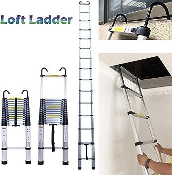 Escalera de aluminio para desván para espacios áticos, escalera telescópica con gancho desmontable, 6,2 m super alta, escalera de extensión para interiores, exteriores, oficina: Amazon.es: Bricolaje y herramientas