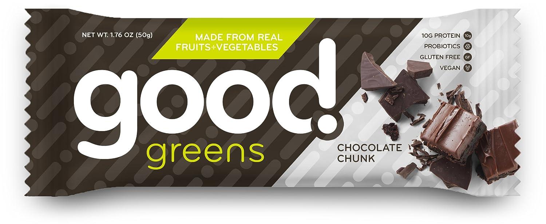 good! greens Gluten-Free Vegan Protein Bar, Chocolate Chunk, 12 ...